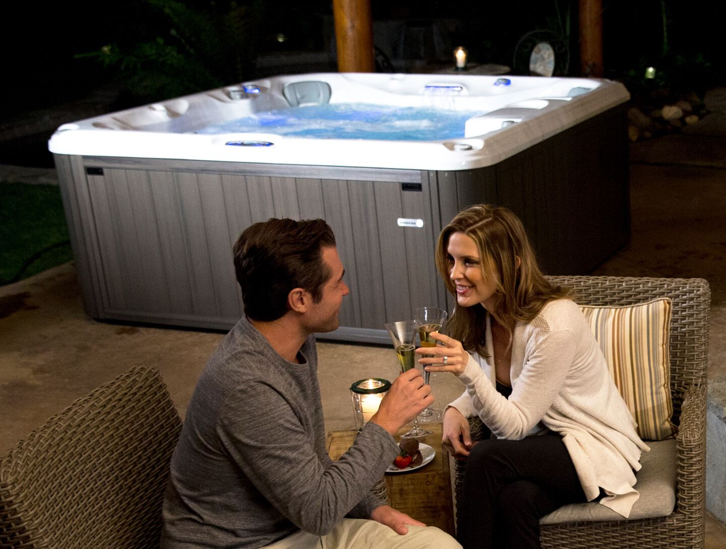 couple near hot tub