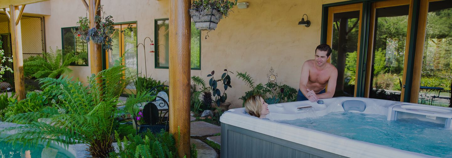 couple enjoying hot tub
